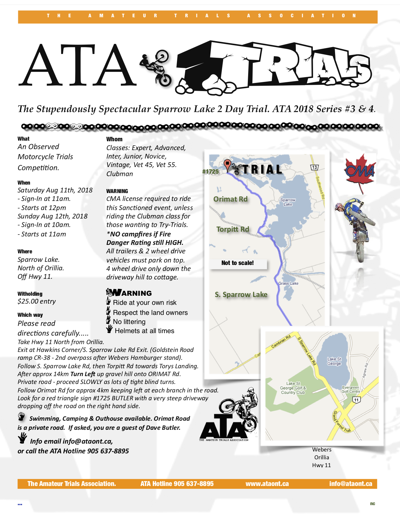 ATA SPARROW LAKE 2 DAY TRIAL – AUGUST 11TH & 12TH, 2018